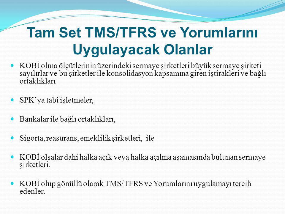 Tam Set TMS/TFRS ve Yorumlarını Uygulayacak Olanlar
