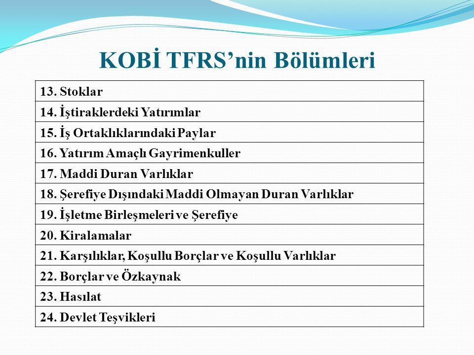 KOBİ TFRS'nin Bölümleri