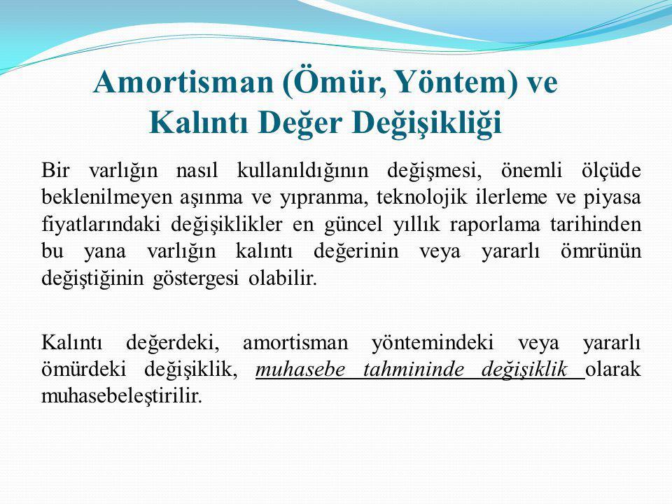 Amortisman (Ömür, Yöntem) ve Kalıntı Değer Değişikliği