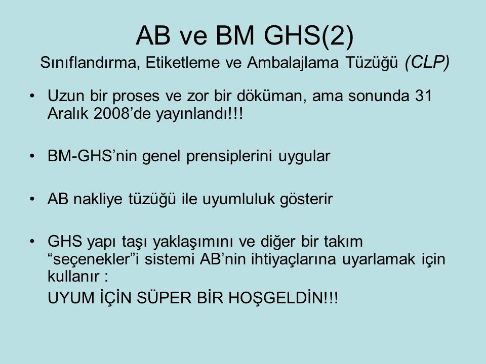 AB ve BM GHS(2) Sınıflandırma, Etiketleme ve Ambalajlama Tüzüğü (CLP)