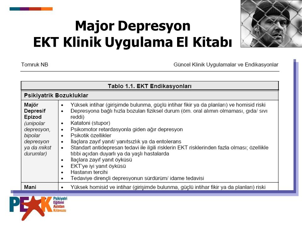 Major Depresyon EKT Klinik Uygulama El Kitabı