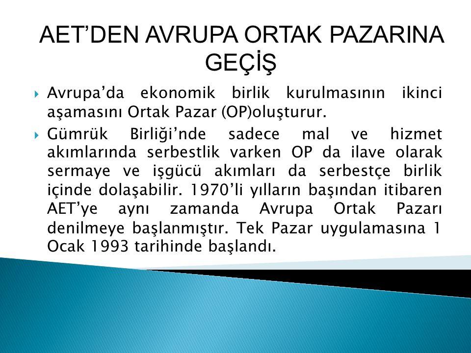 AET'DEN AVRUPA ORTAK PAZARINA GEÇİŞ