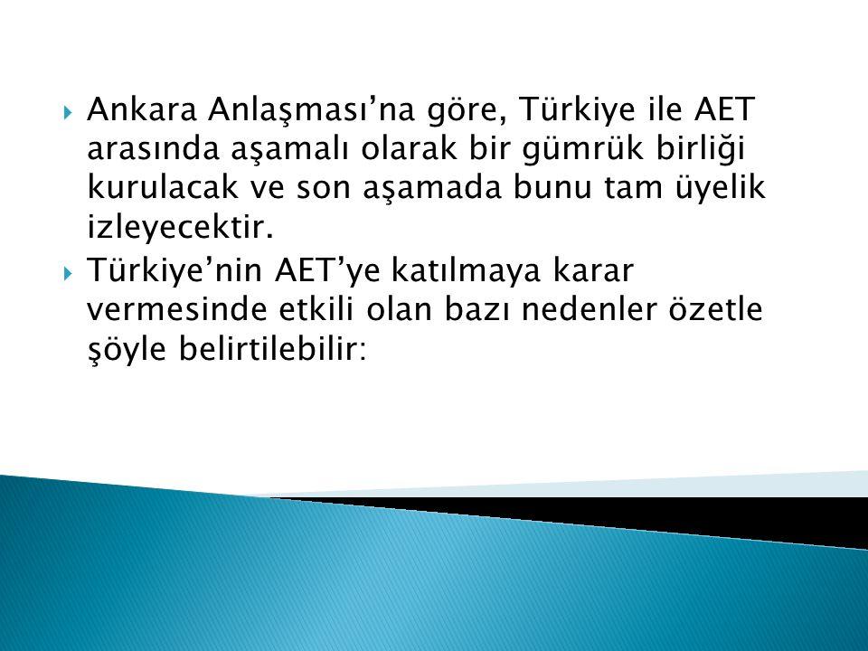 Ankara Anlaşması'na göre, Türkiye ile AET arasında aşamalı olarak bir gümrük birliği kurulacak ve son aşamada bunu tam üyelik izleyecektir.
