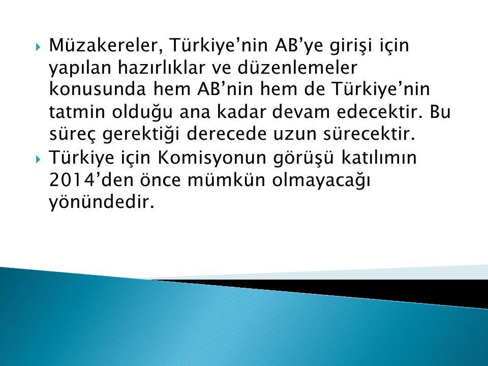 Müzakereler, Türkiye'nin AB'ye girişi için yapılan hazırlıklar ve düzenlemeler konusunda hem AB'nin hem de Türkiye'nin tatmin olduğu ana kadar devam edecektir. Bu süreç gerektiği derecede uzun sürecektir.