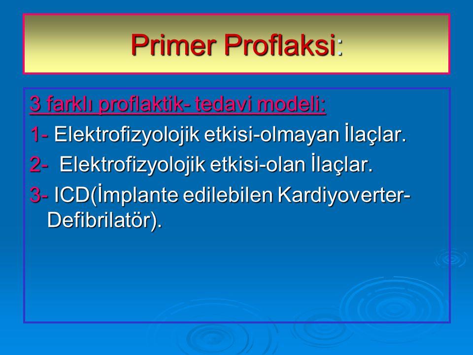 Primer Proflaksi: 3 farklı proflaktik- tedavi modeli:
