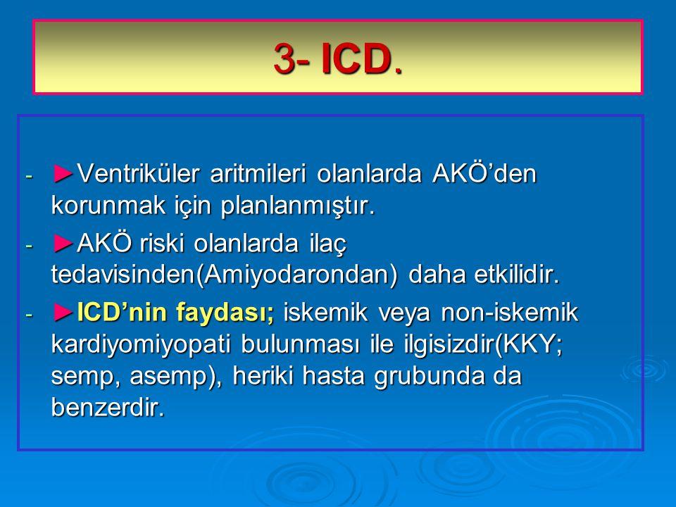 3- ICD. ►Ventriküler aritmileri olanlarda AKÖ'den korunmak için planlanmıştır. ►AKÖ riski olanlarda ilaç tedavisinden(Amiyodarondan) daha etkilidir.