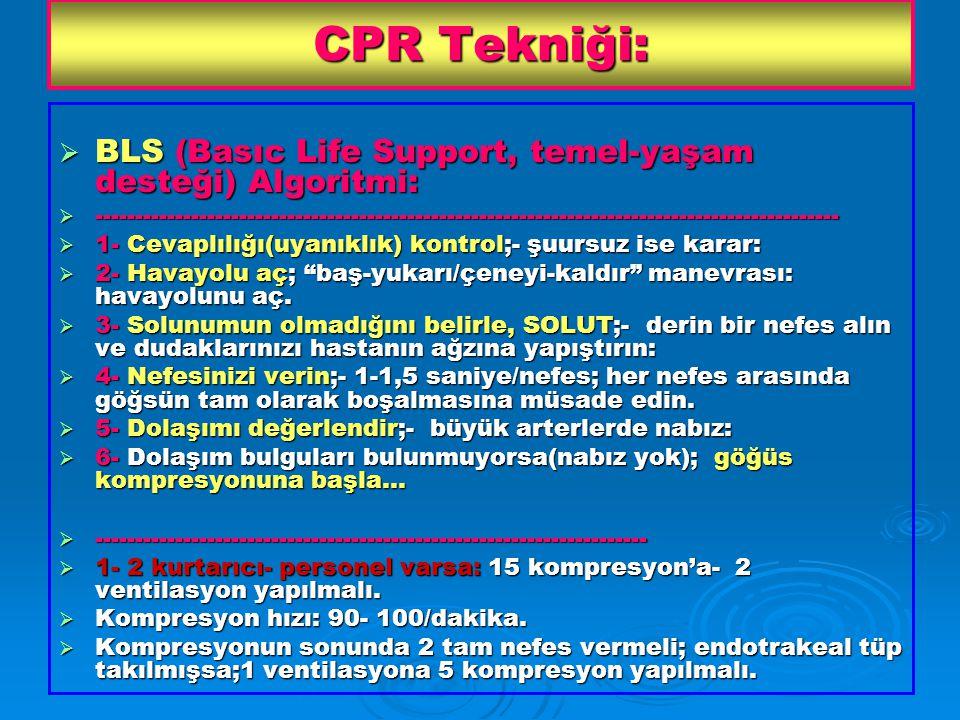 CPR Tekniği: BLS (Basıc Life Support, temel-yaşam desteği) Algoritmi: