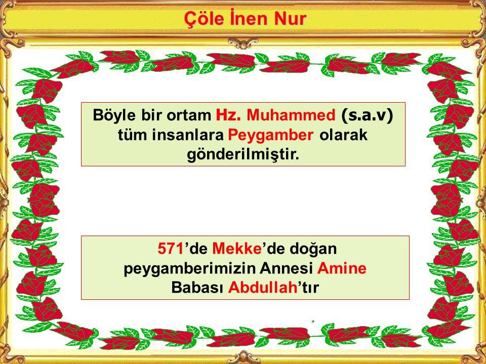 571'de Mekke'de doğan peygamberimizin Annesi Amine Babası Abdullah'tır