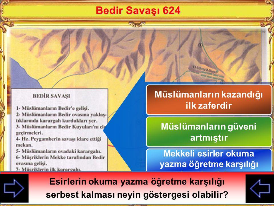 Bedir Savaşı 624 Müslümanların kazandığı ilk zaferdir