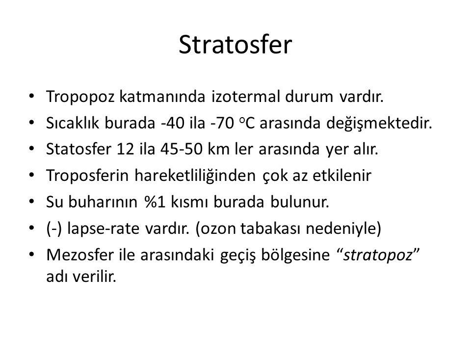 Stratosfer Tropopoz katmanında izotermal durum vardır.