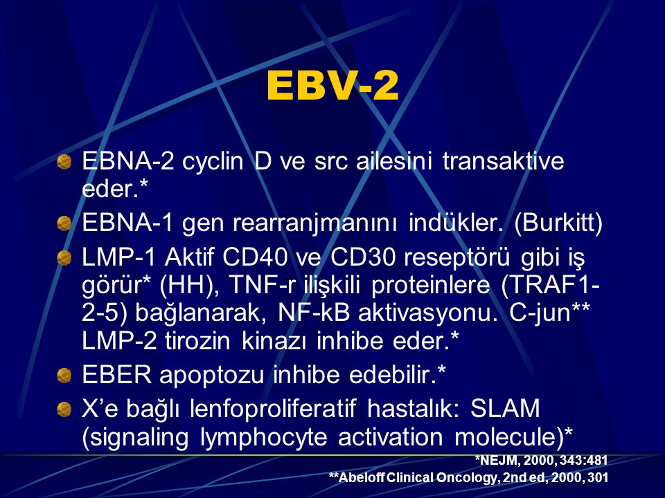 EBV-2 EBNA-2 cyclin D ve src ailesini transaktive eder.*