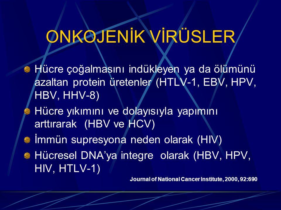 ONKOJENİK VİRÜSLER Hücre çoğalmasını indükleyen ya da ölümünü azaltan protein üretenler (HTLV-1, EBV, HPV, HBV, HHV-8)