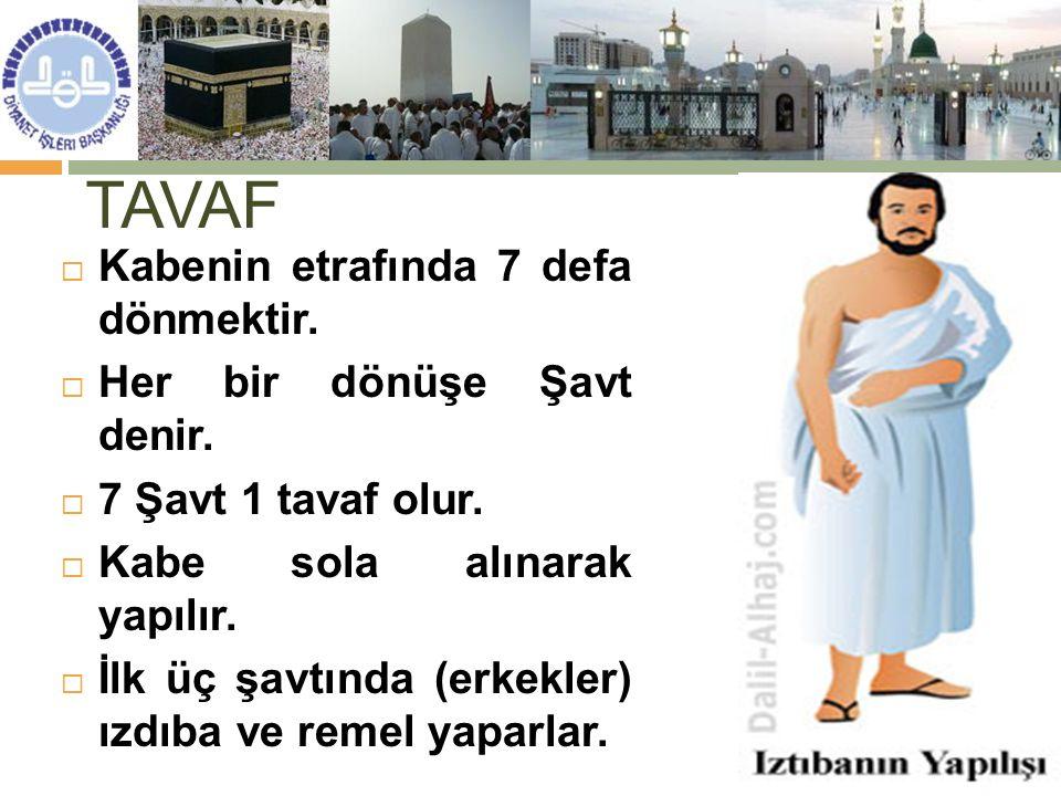 TAVAF Kabenin etrafında 7 defa dönmektir. Her bir dönüşe Şavt denir.