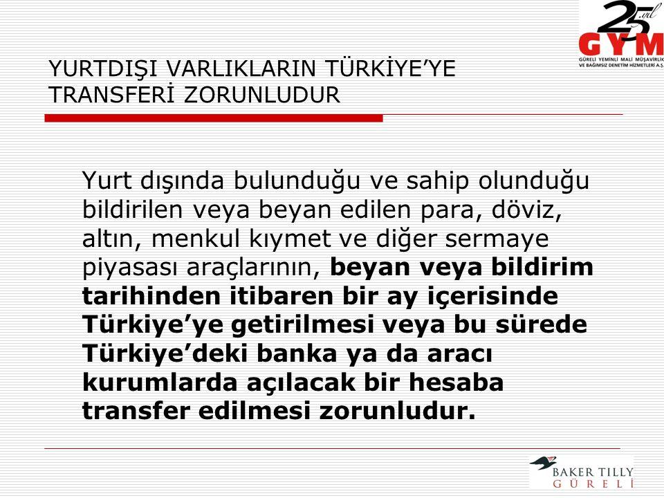 YURTDIŞI VARLIKLARIN TÜRKİYE'YE TRANSFERİ ZORUNLUDUR