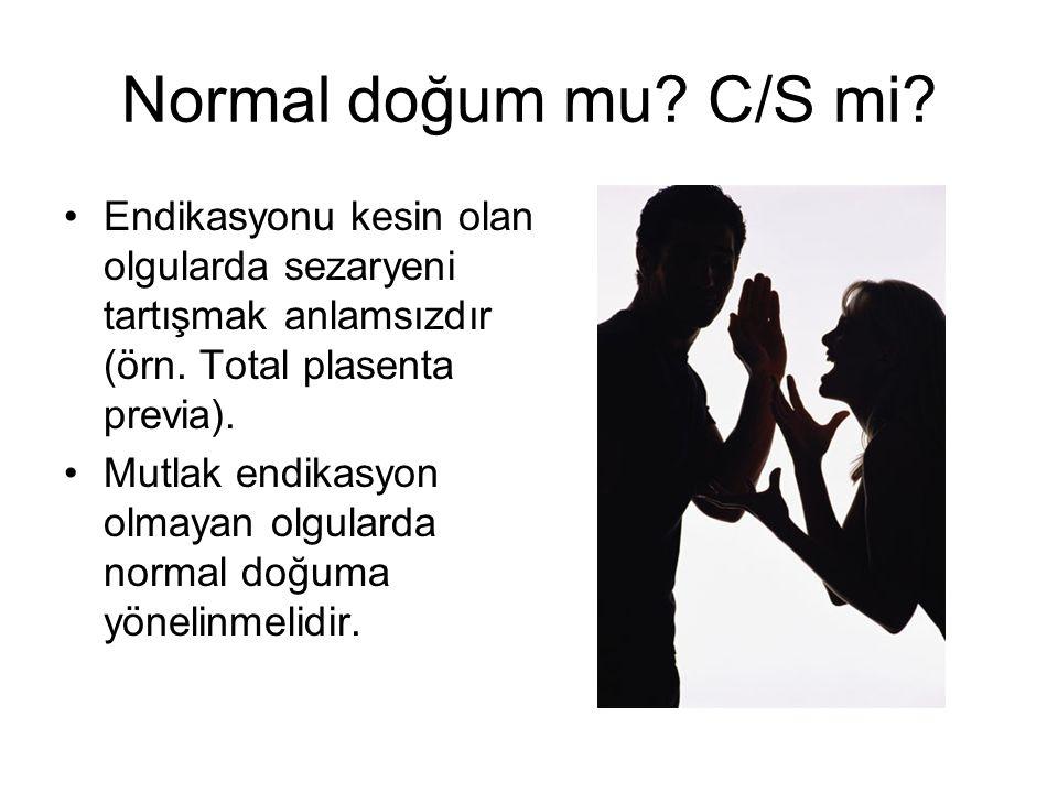Normal doğum mu C/S mi Endikasyonu kesin olan olgularda sezaryeni tartışmak anlamsızdır (örn. Total plasenta previa).