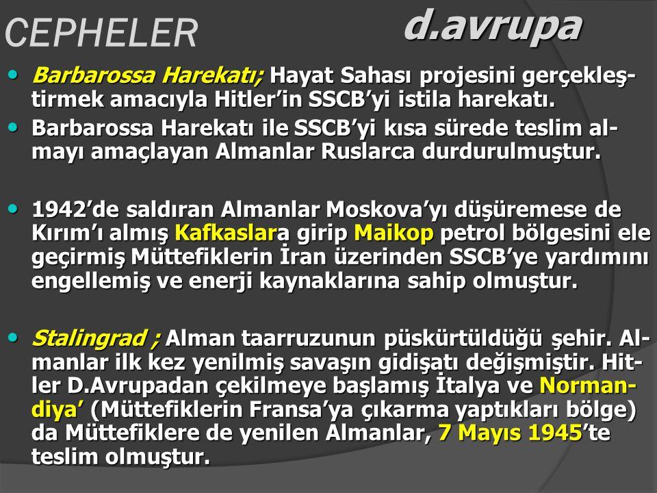 CEPHELER d.avrupa. Barbarossa Harekatı; Hayat Sahası projesini gerçekleş-tirmek amacıyla Hitler'in SSCB'yi istila harekatı.