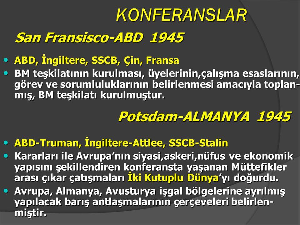 KONFERANSLAR San Fransisco-ABD 1945 Potsdam-ALMANYA 1945