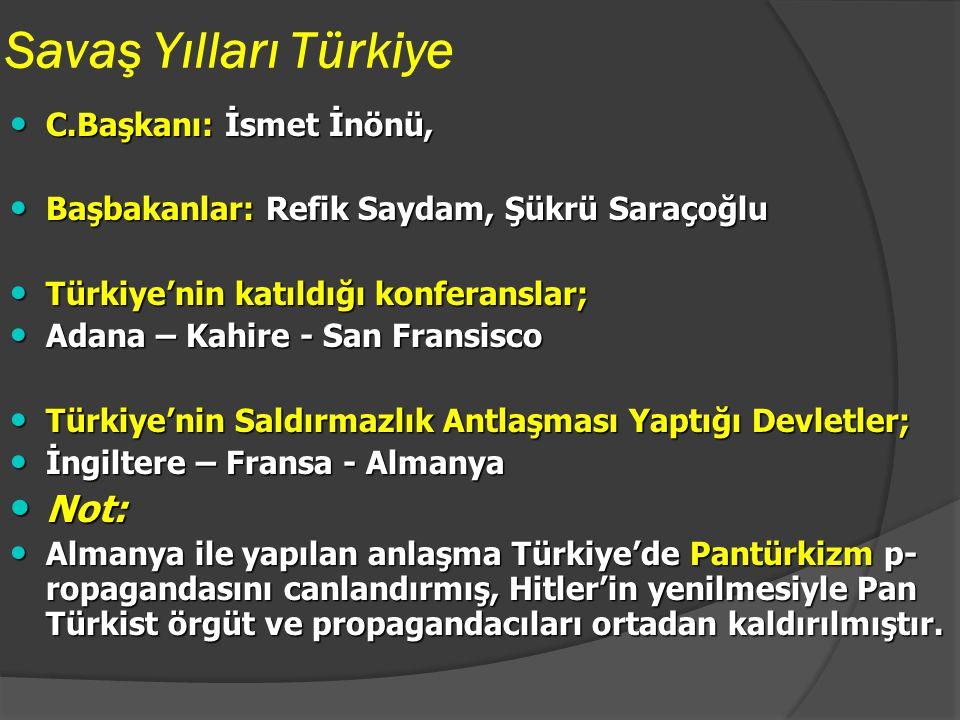 Savaş Yılları Türkiye Not: C.Başkanı: İsmet İnönü,