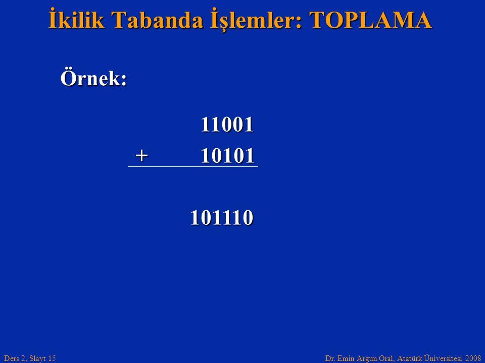 İkilik Tabanda İşlemler: TOPLAMA