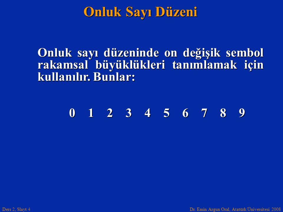 Onluk Sayı Düzeni Onluk sayı düzeninde on değişik sembol rakamsal büyüklükleri tanımlamak için kullanılır. Bunlar: