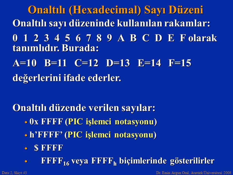 Onaltılı (Hexadecimal) Sayı Düzeni