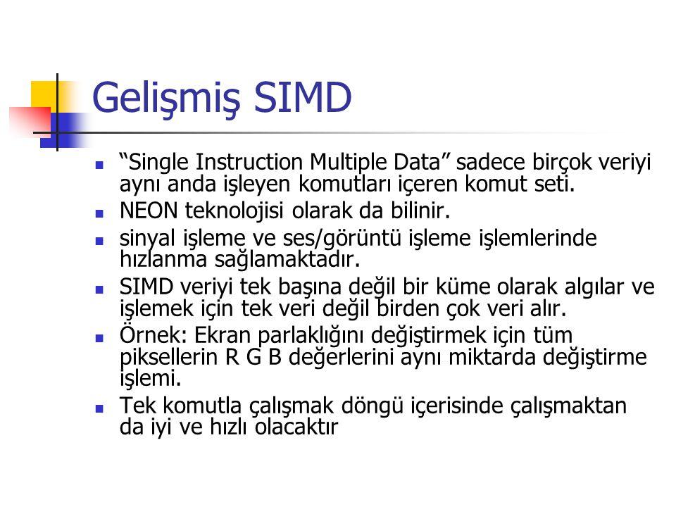 Gelişmiş SIMD Single Instruction Multiple Data sadece birçok veriyi aynı anda işleyen komutları içeren komut seti.