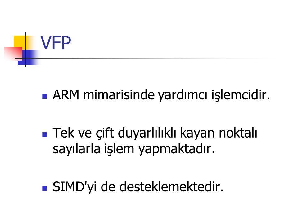 VFP ARM mimarisinde yardımcı işlemcidir.