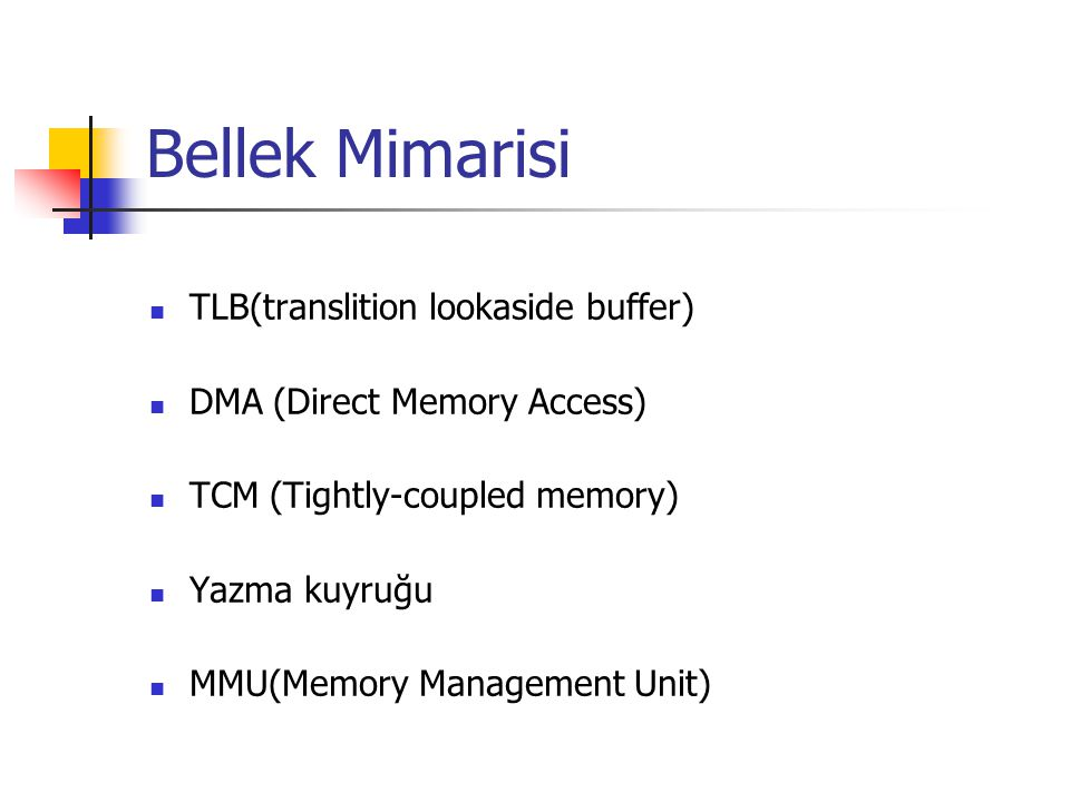Bellek Mimarisi TLB(translition lookaside buffer)