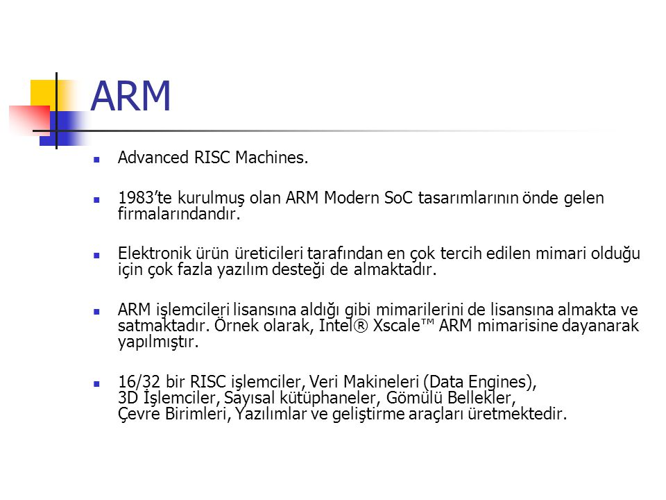 ARM Advanced RISC Machines.