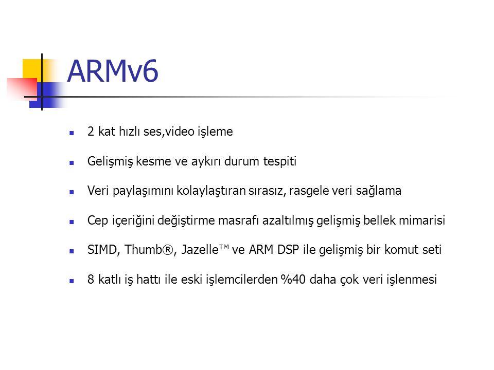 ARMv6 2 kat hızlı ses,video işleme