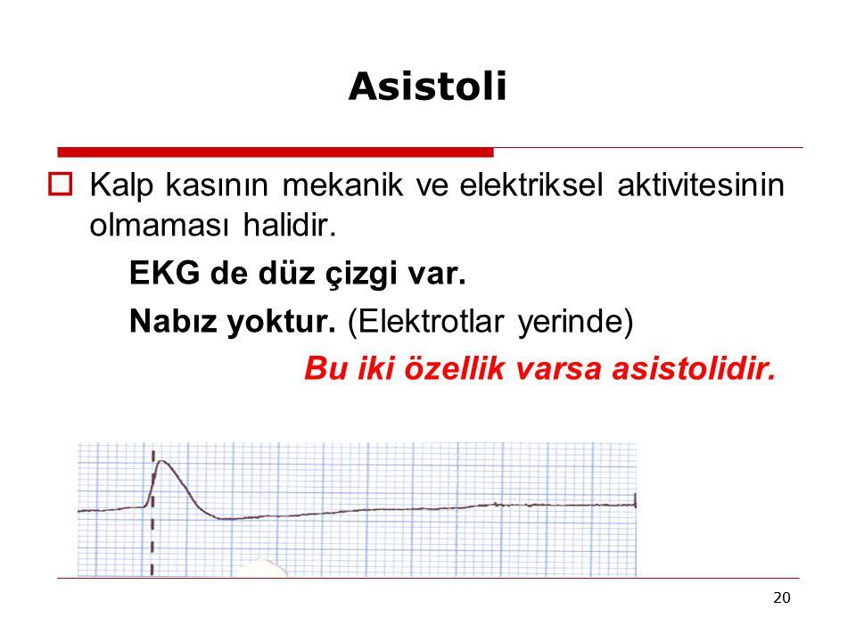 Asistoli Kalp kasının mekanik ve elektriksel aktivitesinin olmaması halidir. EKG de düz çizgi var.