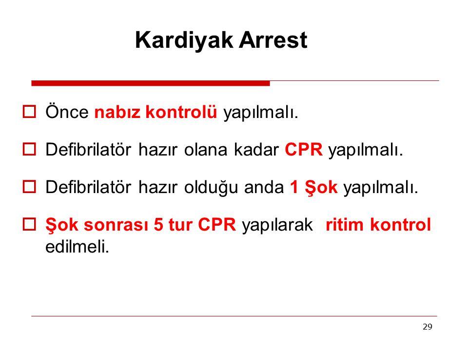 Kardiyak Arrest Önce nabız kontrolü yapılmalı.