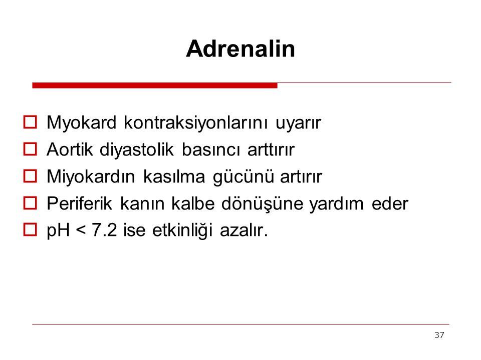 Adrenalin Myokard kontraksiyonlarını uyarır