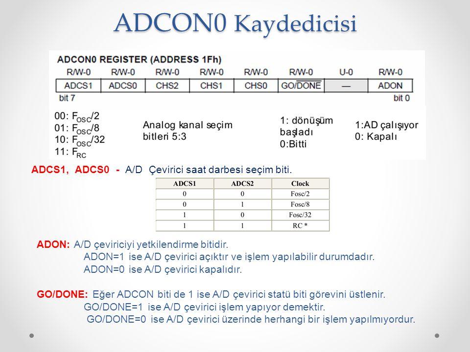 ADCON0 Kaydedicisi ADCS1, ADCS0 - A/D Çevirici saat darbesi seçim biti. ADON: A/D çeviriciyi yetkilendirme bitidir.