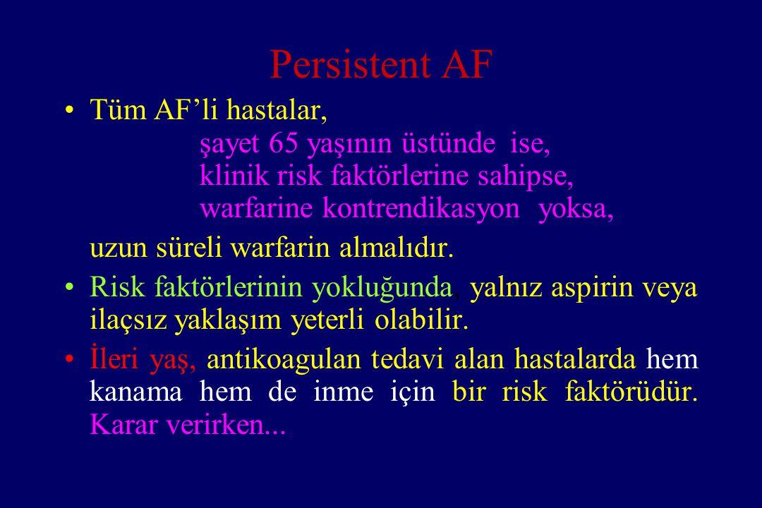Persistent AF Tüm AF'li hastalar, şayet 65 yaşının üstünde ise,