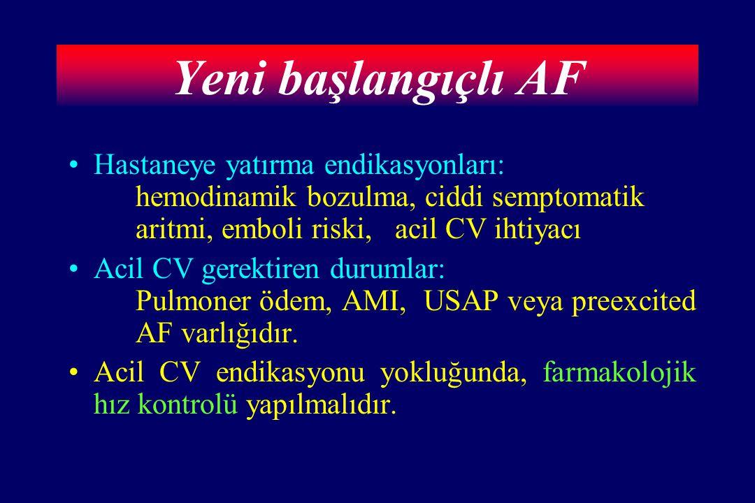 Yeni başlangıçlı AF Hastaneye yatırma endikasyonları: hemodinamik bozulma, ciddi semptomatik aritmi, emboli riski, acil CV ihtiyacı.