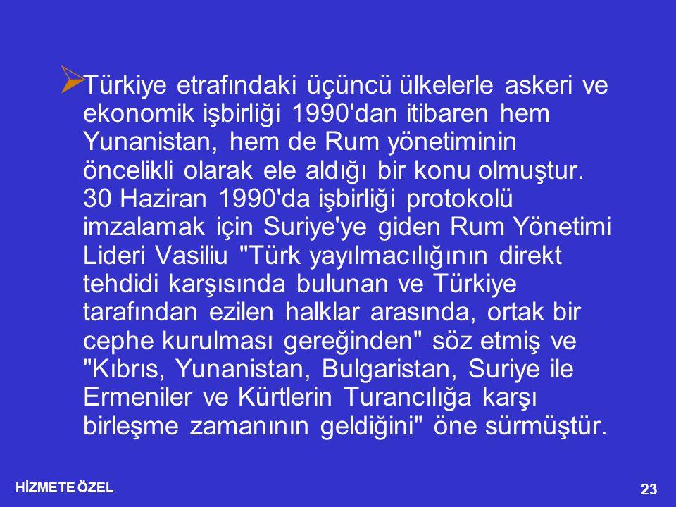 Türkiye etrafındaki üçüncü ülkelerle askeri ve ekonomik işbirliği 1990 dan itibaren hem Yunanistan, hem de Rum yönetiminin öncelikli olarak ele aldığı bir konu olmuştur.