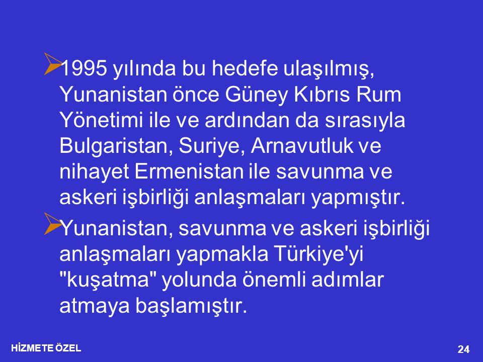 1995 yılında bu hedefe ulaşılmış, Yunanistan önce Güney Kıbrıs Rum Yönetimi ile ve ardından da sırasıyla Bulgaristan, Suriye, Arnavutluk ve nihayet Ermenistan ile savunma ve askeri işbirliği anlaşmaları yapmıştır.