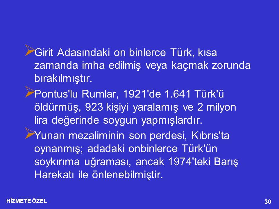 Girit Adasındaki on binlerce Türk, kısa zamanda imha edilmiş veya kaçmak zorunda bırakılmıştır.