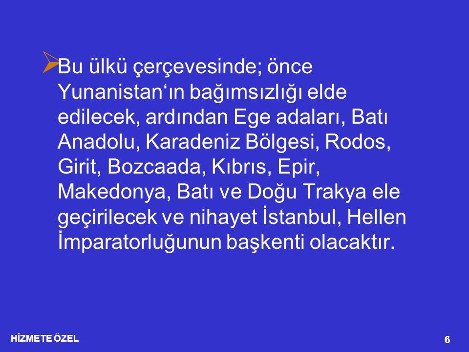 Bu ülkü çerçevesinde; önce Yunanistan'ın bağımsızlığı elde edilecek, ardından Ege adaları, Batı Anadolu, Karadeniz Bölgesi, Rodos, Girit, Bozcaada, Kıbrıs, Epir, Makedonya, Batı ve Doğu Trakya ele geçirilecek ve nihayet İstanbul, Hellen İmparatorluğunun başkenti olacaktır.