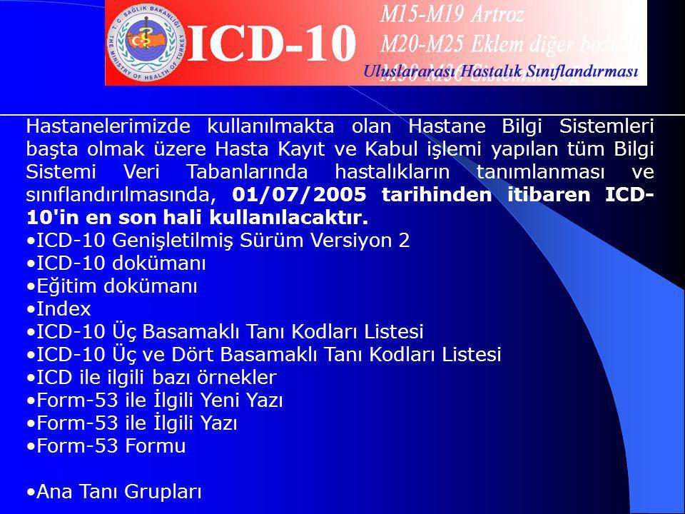 ICD-10 Genişletilmiş Sürüm Versiyon 2 ICD-10 dokümanı Eğitim dokümanı