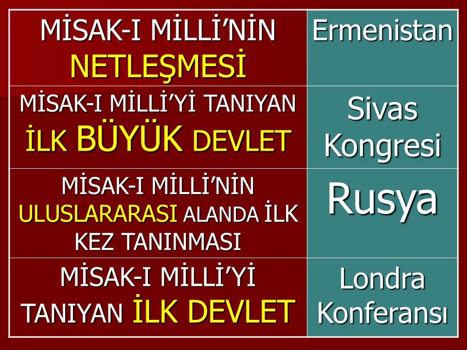 Rusya Sivas Kongresi MİSAK-I MİLLİ'NİN NETLEŞMESİ Ermenistan