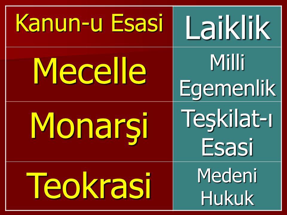 Mecelle Monarşi Teokrasi Laiklik Kanun-u Esasi Teşkilat-ı Esasi