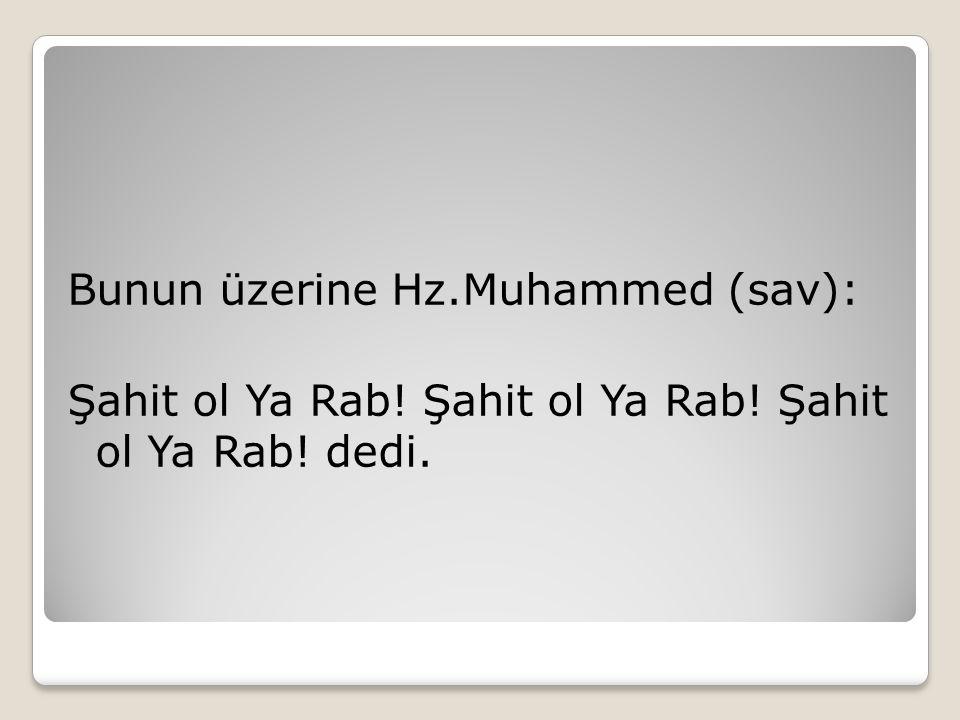 Bunun üzerine Hz. Muhammed (sav): Şahit ol Ya Rab. Şahit ol Ya Rab