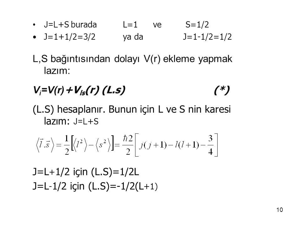 L,S bağıntısından dolayı V(r) ekleme yapmak lazım: