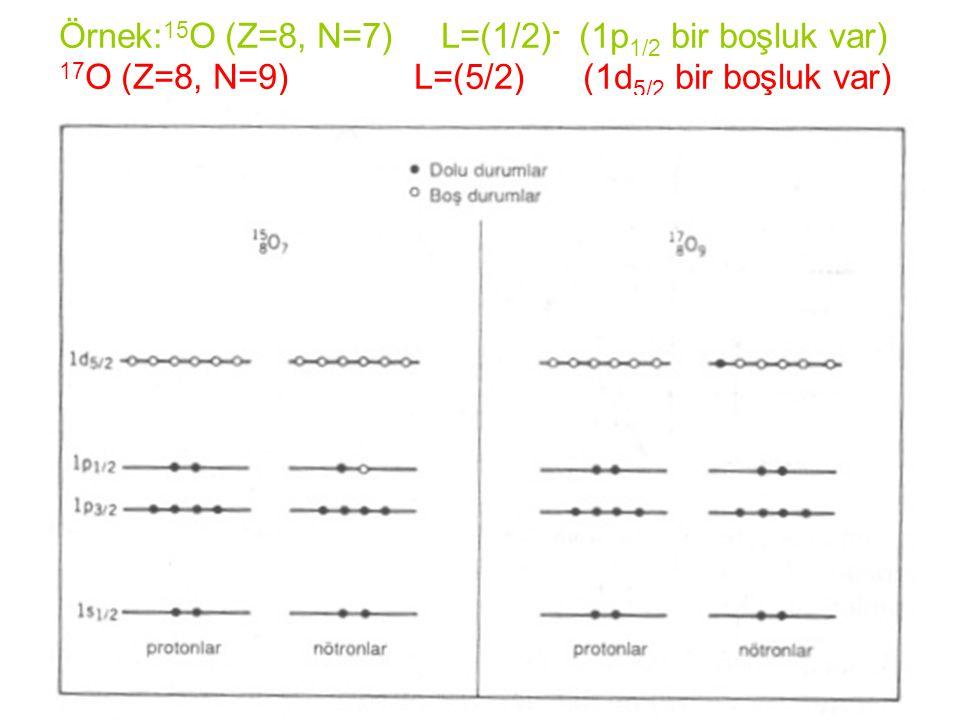 Örnek:15O (Z=8, N=7) L=(1/2)- (1p1/2 bir boşluk var) 17O (Z=8, N=9) L=(5/2) (1d5/2 bir boşluk var)