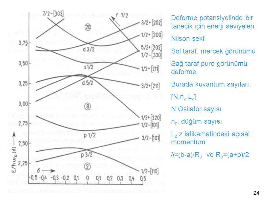 Deforme potansiyelinde bir tanecik için enerji seviyeleri.