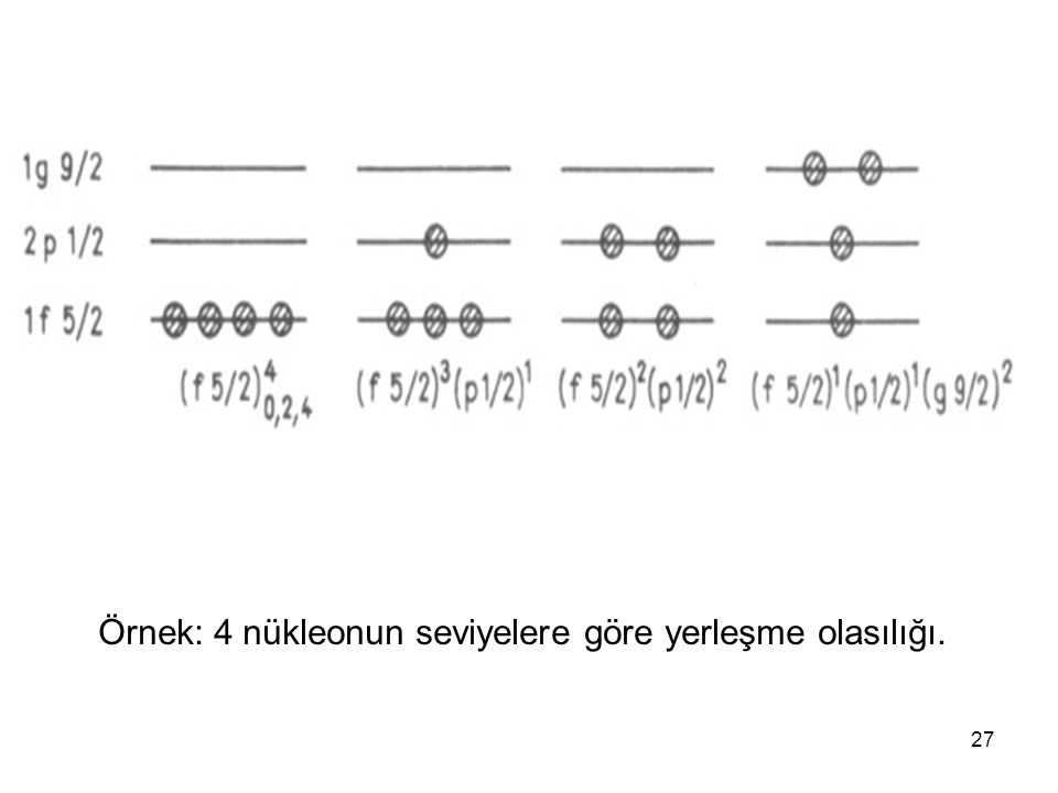 Örnek: 4 nükleonun seviyelere göre yerleşme olasılığı.