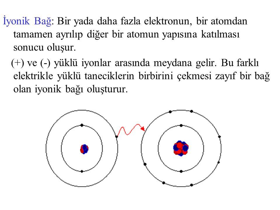 İyonik Bağ: Bir yada daha fazla elektronun, bir atomdan tamamen ayrılıp diğer bir atomun yapısına katılması sonucu oluşur.