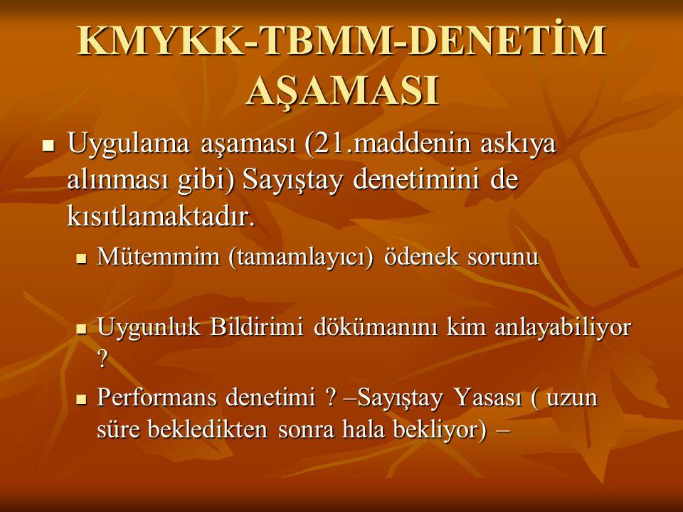 KMYKK-TBMM-DENETİM AŞAMASI